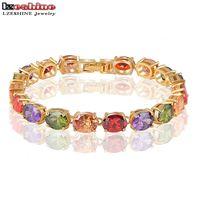 Wholesale AAA Multicolor Oval Swiss Cubic Zirconia Diamond Bracelet 18K Gold Plated Colorful Zircon Strand Bracelets