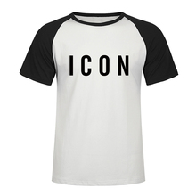 Hot Sale Funny T Shirt Fashion Brand Icon raglan T Shirt Men Casual Tshirt Print With Icon Hip Hop Cotton Short Sleeve Tee Shirt two tone raglan sleeve tee