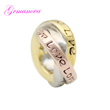 Three-color Valentine's Day gift ring love European big hole charm beads amulet Fit Pandora Bracelet Women's DIY Jewelry(China)