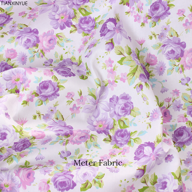 Purple flower cotton fabric,Meter fabric diy handmade patchwork fabric cotton cloth home ...