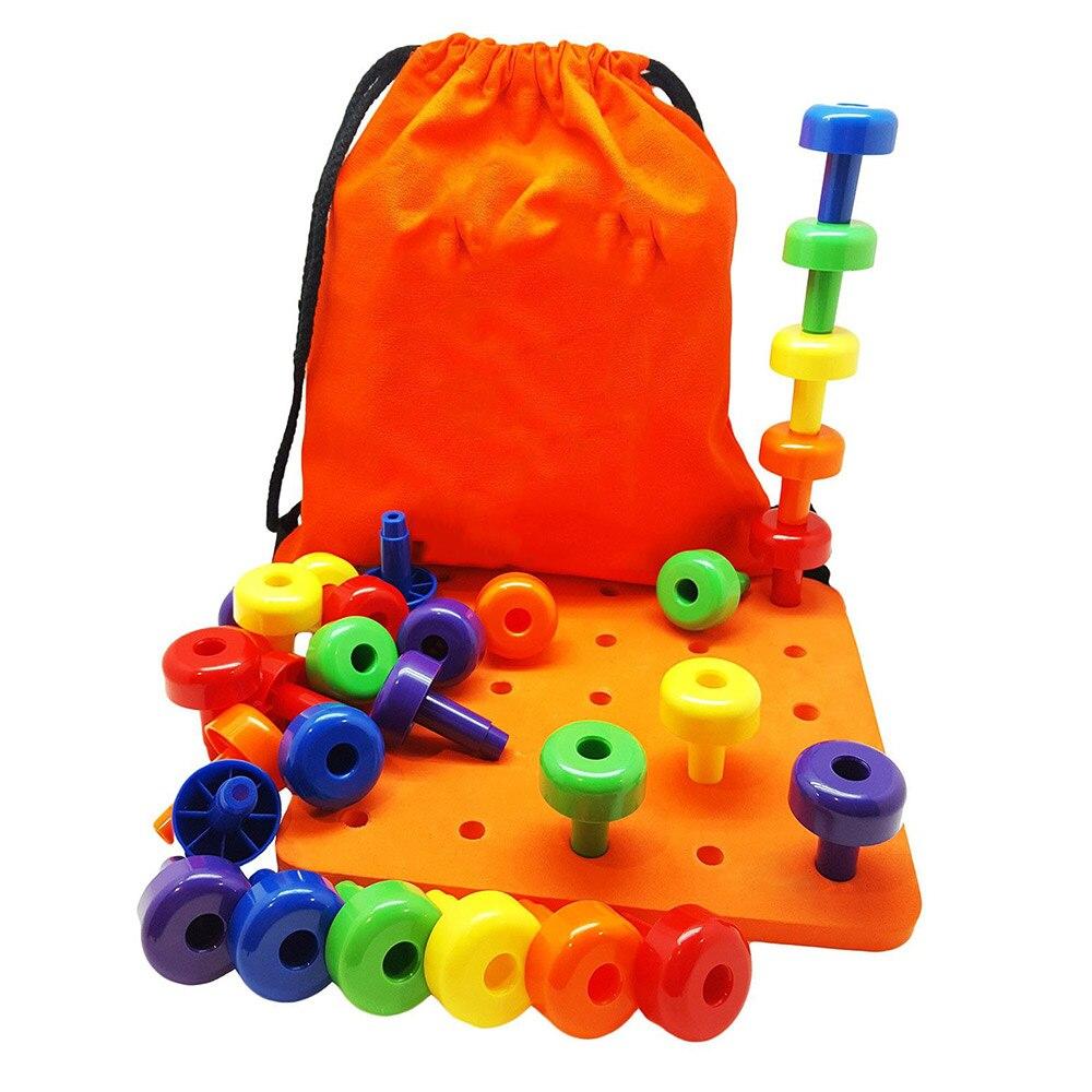 Peg Board Set-Montessori Spielzeug für Kleinkinder und Vorschule Kinder | 30 Pegs für Lernen Farben, Sortierung Zählen