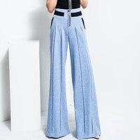 Nuove donne di Colore Solido Pantaloni Diritti Blu A Vita Alta Streetwear All'ingrosso di Modo Casuale Pantaloni Gamba Larga Più Il Formato TrousersMK0018