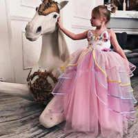 67d56b6610d 2019 новый летний костюм единорога дети принцесса сетки Кружевное платье  детский день выступления платья для женщин