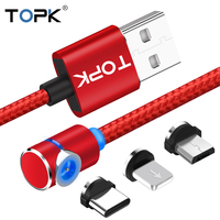 TOPK 90 Degree L Type Magnetic Cable , LED Magnet Charger Cable for iPhone Xs Max X 8 7 5 & Micro USB Cable & USB Type-C USB C Mobile Phone Cables