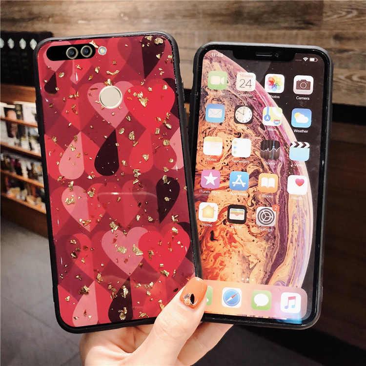 TRISEOLY Lá Vàng Tình Yêu Mềm TPU Điện Thoại Trường Hợp Đối Với Huawei Mate 20 10 P20 Pro Lite Nova 3i 2 s 3E Coque Capa Cho Honor 7A 7C 8X Bìa