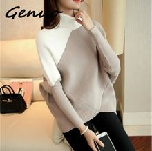 Genuo New Female winter sweater loose turtleneck 2019 irregular Korean female backing coat thick