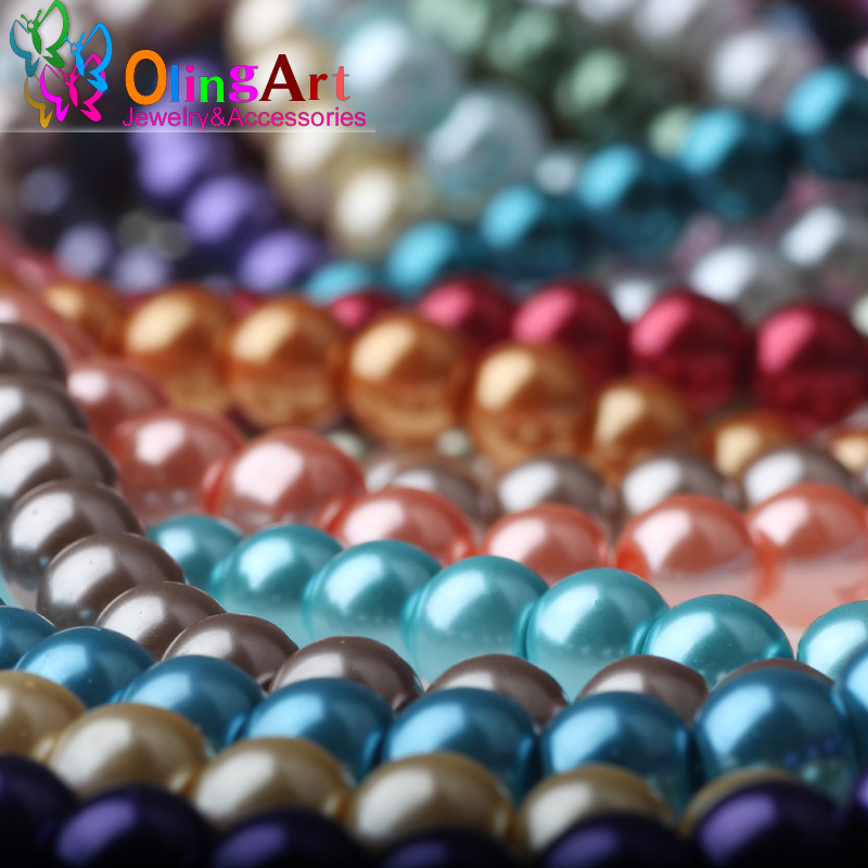 6MM glass  beads  round pearl mixed multicolor glass imitation pearls 100PCS / Lot DIY Making bead jewelry  Crystal beads 2016