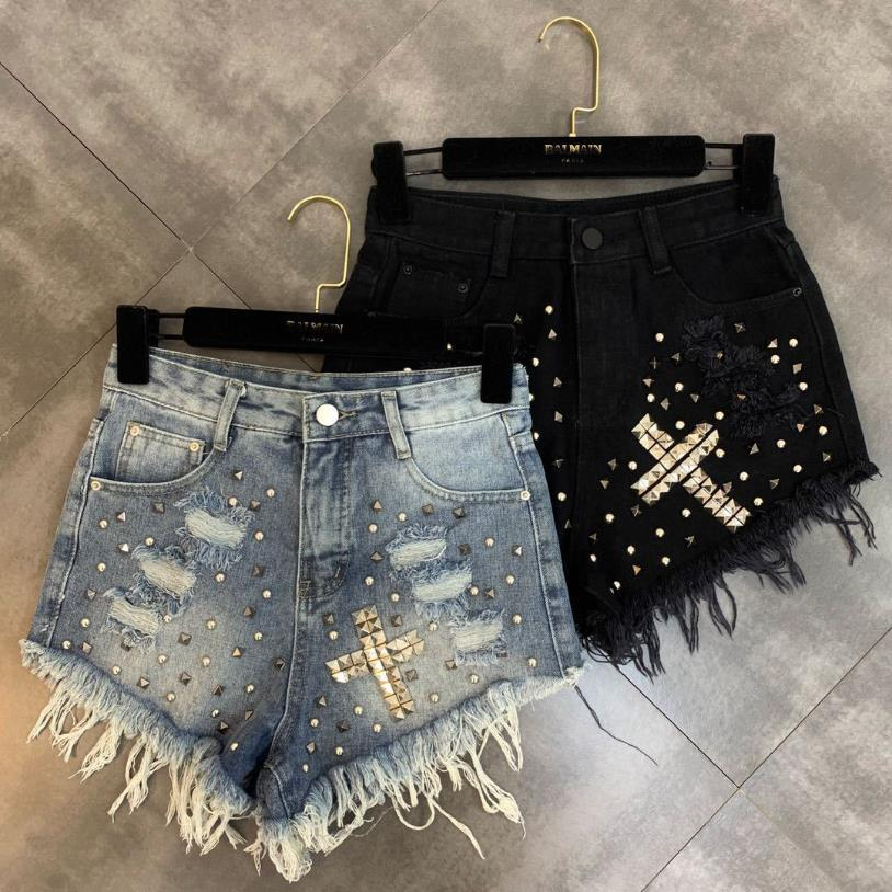 Wholesale Tassel Stitching Rivet Beading Wide Leg Denim Shorts Female High Waist Frazzle Punk Street Style Hot Shorts Wq1618