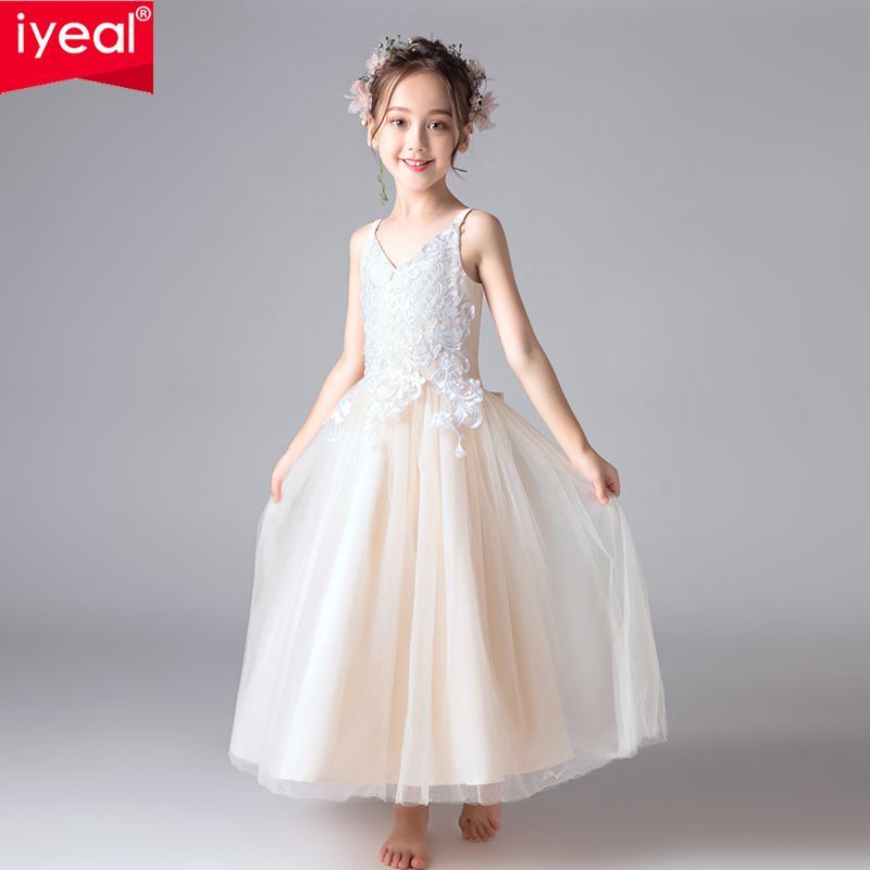 IYEAL Kids Dress for Girls Wedding Tulle Lace Long Girl Dress Elegant Princess Party Pageant Formal Gown for Teen Children 4-14Y professional waterproof dive flash light xhp70 led diving flashlight tactical torch with 4 18650 battery charger for camping