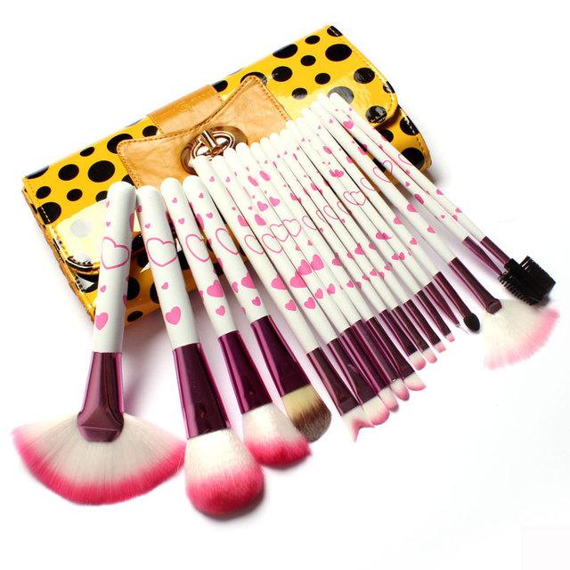 18 Pcs Pincéis de Maquiagem Ferramentas de Maquiagem & Saco de Acessórios em lindo arco-Nó de Bolinhas Amarelo