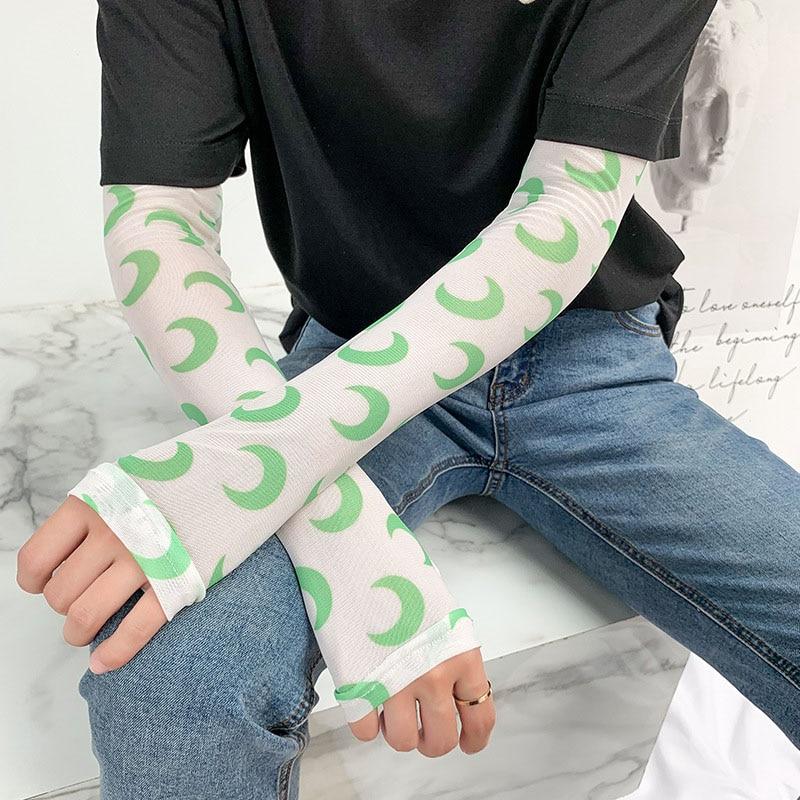 Fashion Ice Silk Cold Fruit Flowers Print Sun Gloves Half Finger Fingerless Driving Arm Warmers Sports Sunscreen Long Sleeve C31