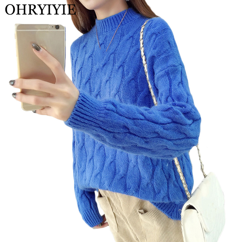 OHRYIYIE Blue O-Neck Twisted Sweater Women 2019 Autumn Winter Fashion Long Sleeve Cashmere Pullovers Female Knitted Jumper Tops