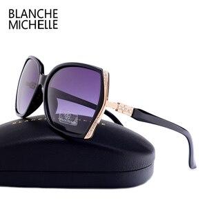 Image 2 - Blanche Michelle occhiali da sole polarizzati oversize di alta qualità donna UV400 oculos de sol Gradient Driving occhiali da sole con scatola