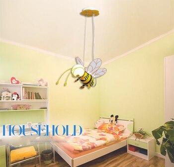 Wholesale E27 LED Children Eye Protection Droplight Cute Cartoon Yellow Honey Bee Pendant Suspension Light Fixture for Kids