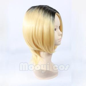 Image 4 - Haikyuu!! Kozume Kenma Cosplay Wig 35cm Short Straight Heat Resistant Synthetic Hair Black Gradient Blond Gold Anime Wig