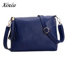 Xiniu Bags Handbags Women Famous Brands Solid Tassel Bag 30*20cm PU Leather Bag Shoulder Bag Women Bolso Mujer #2905