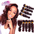 Peruvian Virgin Hair With Closure 4 bundles with lace closure Red 99j Loose Wave Hair weft With Closure Beauty forever for women