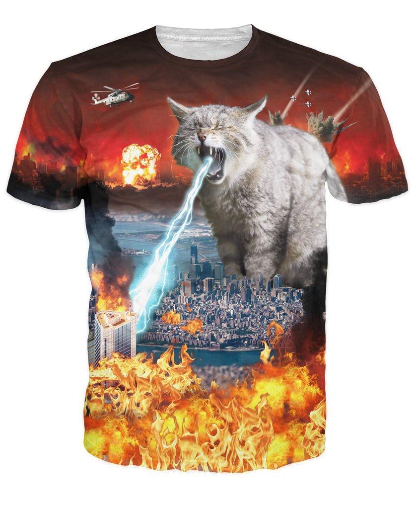 Модная одежда, футболка с котом-астрофами, 3d футболка, огромный Кот разрушения города, забавная футболка, женские и мужские топы, футболка с ...