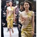 2016 лето новая звезда Лю Шиши ladies dress тонкий павлин вышивка cheongsam dress