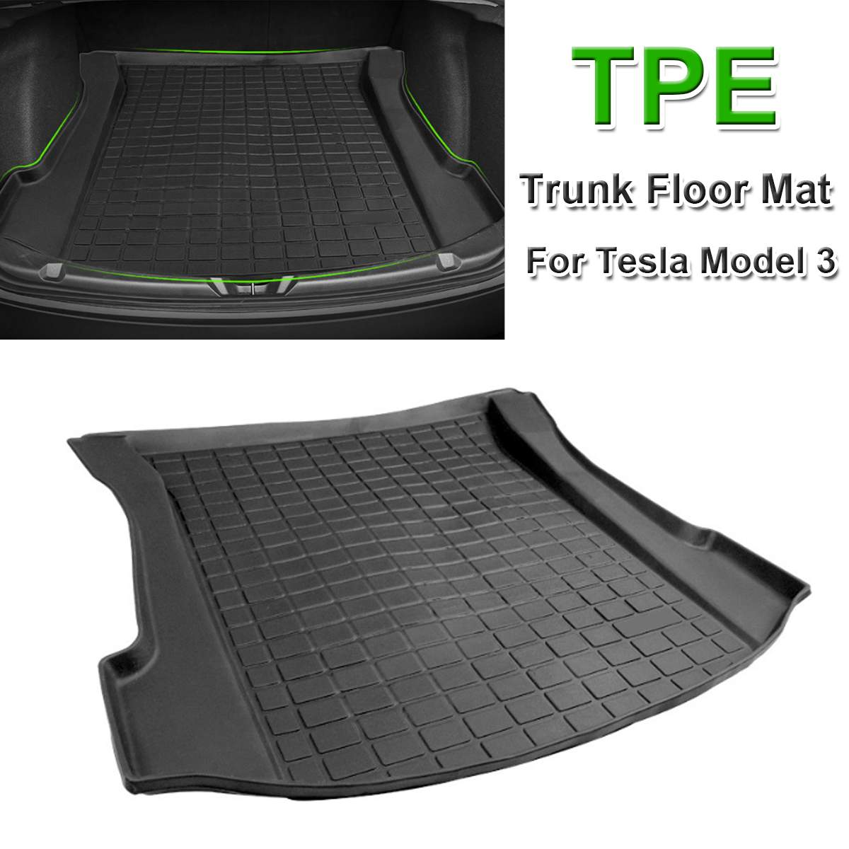 NEW 1PCS Floor Mats TPE Rear Trunk Floor Mat Black Thermoplastic Elastomer Cargo Liner Rear Tray Mat for Tesla Model 3