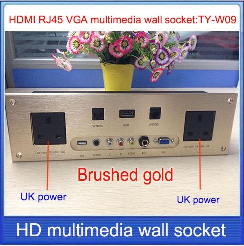 UK plug power socket \ HDMI  VGA USB 2.0   RJ45  wall socket /Aluminum alloy /multimedia home hotel rooms KTV wall socket TY-W09 new south africa power plug and usb charger pop up desk socket network phone usb hdmi vga 3 5audio silver black 50pcs set