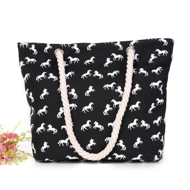 STRIPED LARGE CANVAS TOTE BAG - Women Summer Casual Cord Shoulder Bag Female Shopping Beach Handbag 3