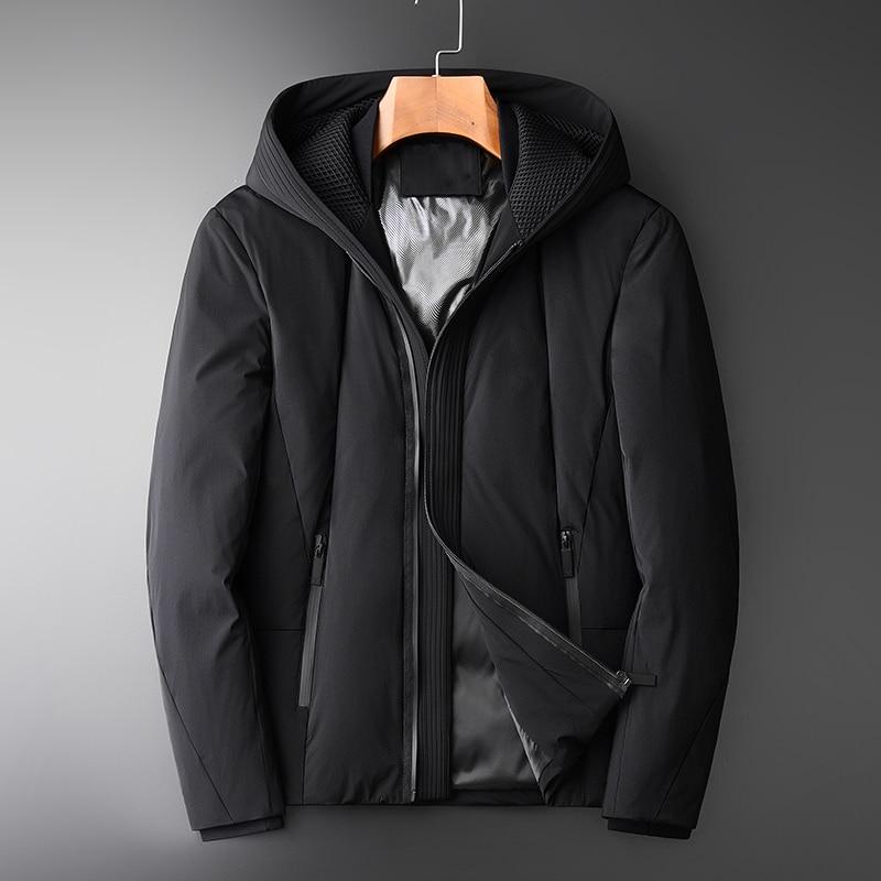 Minglu High Density Duck   Down   Jacket Men Luxury Fashion Windproof Fabric Hooded   Down   Parka Men Winter   Coat   Black Man   Down     Coats