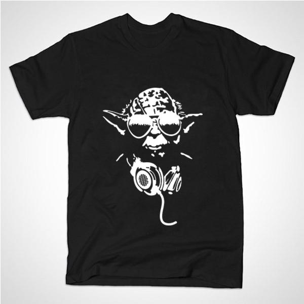 New Summer Style Mens Custom t shirts Yoda Cool Dj Hip Hop Star Wars funny t-shirts Print Fashion Casual Cotton Clothing