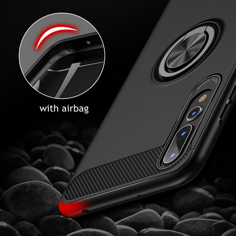 Image 2 - Carbon Fiber Magnet Case For Huawei p20 lite p20 pro Case Soft Silicon Metal Ring Cover For Huawei honor 10 p20lite p20pro Cases-in Fitted Cases from Cellphones & Telecommunications