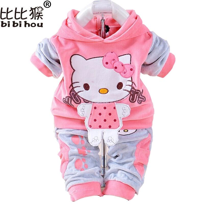 Baby Girls Clothing Set Cartoon Rabbit & Hello Kitty 2017 Winter Autumn Children Clothing Casual Hooded Pants Kids Clothes Girls стоимость