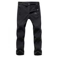 2017 Winter Warm Waterproof Softshell Men Casual Pants With Fleece Men's Style Trousers Shark Skin Windproof Male Pants,AM054