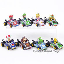 Super Mario Bros Mario Luigi Peach Toad Donkey Kong Yoshi Koopa Bowser Kart Pull Voltar Car Toy Action Figure 8 pçs/set