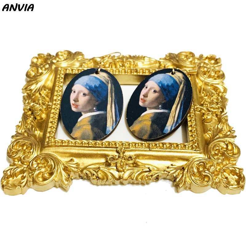 Vintage Tranh Sơn Dầu Bông Tai Giọt Mona Lisa Cô Gái Với Bông Tai Ngọc Trai Tranh Nữ Bằng Gỗ Hình Bầu Dục Tuyên Bố Lớn Tòn Ten Bông Tai
