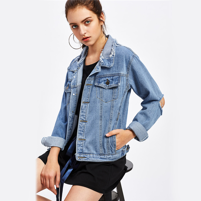 Cutout Elbow Single Breasted Blue Ripped Denim Jacket For Women
