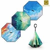 Double Layer Long Handle Umbrella Reverse Colorful Rain Umbrellas Sunshade Uv Parasol Sombrinha Raincoat Sunny Umbrella BKV047