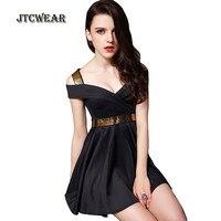 JTCWEAR Sexy Girl V Neck Waist Bandage Mini Dress Short Sleeve Open Shoulder Tunic Night Club