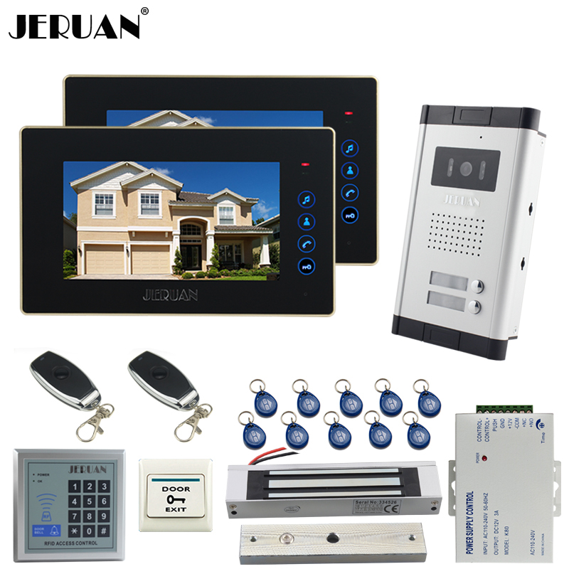 JERUAN NEW 7`` LCD video door phone 2 Touch key Monitor 1 HD Camera Apartment 1V2 Doorbell+RFID Access Control FREE SHIPPING queenway 2612 amp versiom cnc full aluminum small class a amplifier audio box power amp case 260mm 120mm 311mm 260 120 311mm