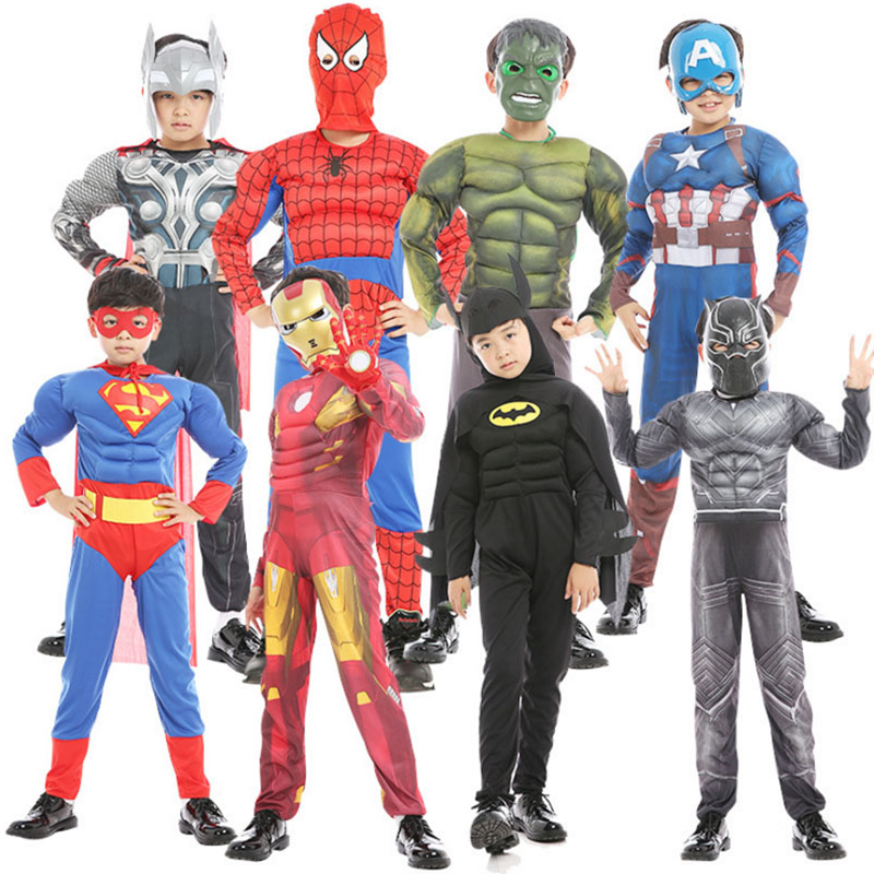 Halloween Cosplay Superhero Costumes For Kids Boy Spiderman/Batman/Superman/Iron man/Captain America Avengers Muscle Clothes