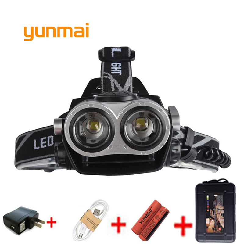 yunmai USB Power Led Headlight Waterproof Zoom Headlamp 5000 lumen 2 Leds NEW xml t6 Head Lamp Torch Hunting Fishing Light maimu 8000lm usb power led headlamp cree xml t6 3 modes rechargeable headlight head lamp torch for hunting 18650 head light d14