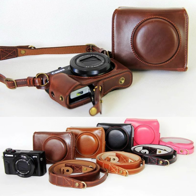 Luxury Leather Camera Case For Canon Powershot G7X Mark 2 G7X II G7X2 Digital Camera PU Leather Camera Bag Cover + strap
