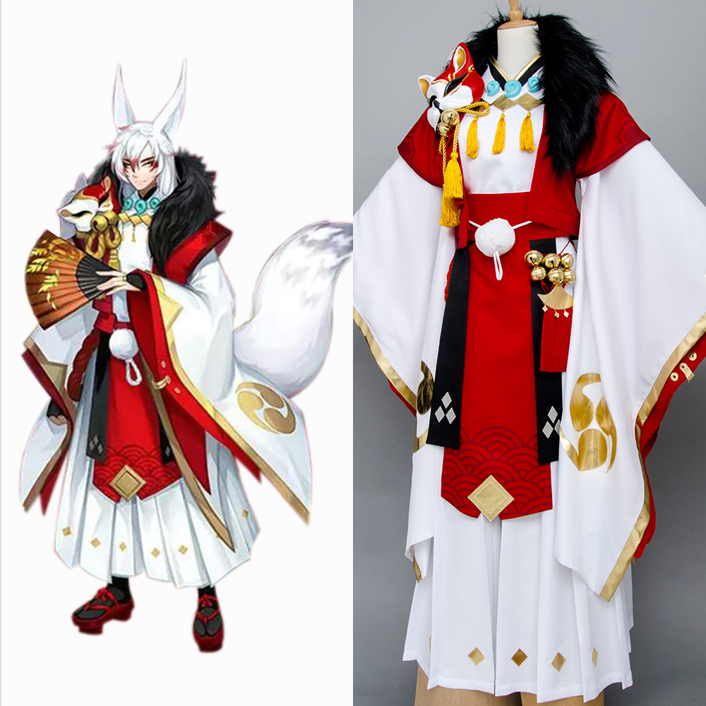 Yin Yang Master Onmyouji Fox Cosplay Costume Outfit Kimono Suit Outfit Set Original 100% For Halloween Party Suit Full Set