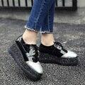 Новые Блестки Женщина Повседневная Обувь На Высоких Каблуках Клинья Женщин Pumsp Толстым Дном Туфли На Платформе