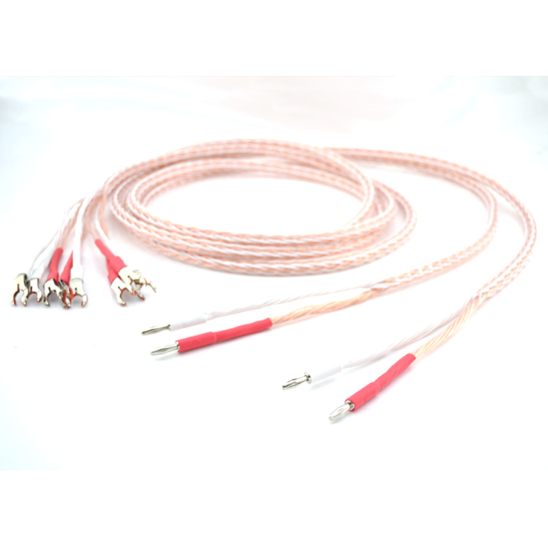 1Pair 3M OCC Bi Wire Speaker Wire Cable HiFi amp Rhodium Banana 2 banana to 4 spade 1pcs yt191 high voltage 4 mm banana plug test lead cable wire 100 cm for multimeter the probes gun type banana plugs