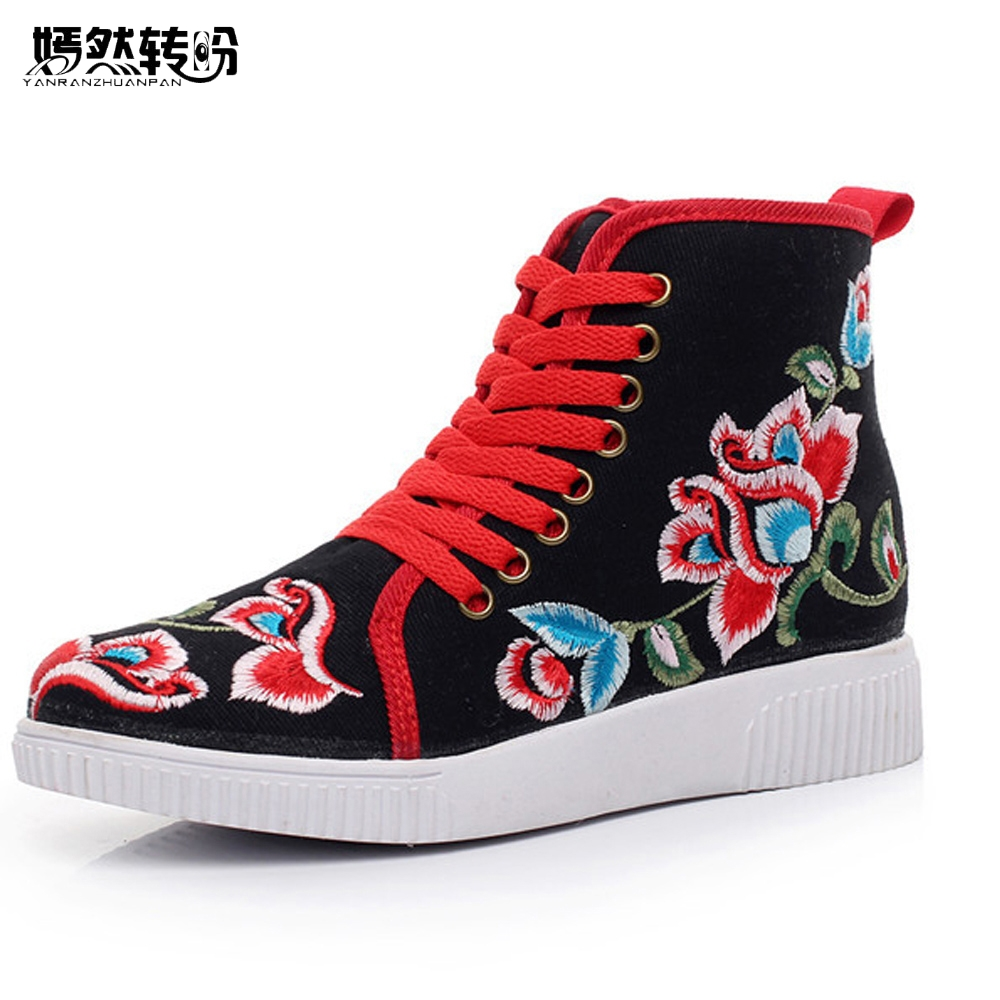 Autumn New Women Flats Vintage Chinese Old BeiJing Shoes Tourism Embroidered Floral Single Soft Lace up Shoes Woman new chinese women flats old beijing cloth embroidery shoes retro national floral embroidered dance soft canvas single shoes