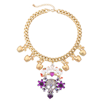 Min Order 10 New Designer Elegant Glass Stone Vintage Skull Pendant Necklace