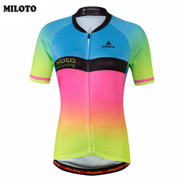 MILOTO Quick Dry Cycling Jersey Top Womens Outdoor Sports Jacket Bicycle  Bike Colorful Short Sleeve Shirt 66b3713f9