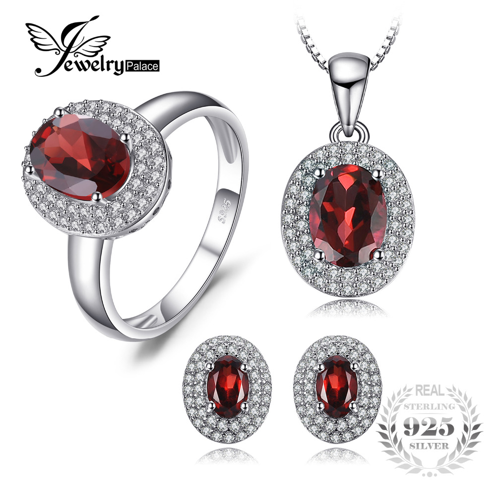 JewelryPalace Classic 4.5ct Genuine Red Garnet Halo Ring Stud Earrings Pendant Necklace Jewelry Sets 925 Sterling Silver Chain jewelrypalace 2 55ct natural lemon quartz halo ring stud earrings pendant neckalce chain 45cm 925 sterling silver jewelry sets