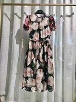 2019 Новые 100% шелковые цветочные o образным вырезом с рукавами фонариками Роскошные платья для женщин Бесплатная доставка
