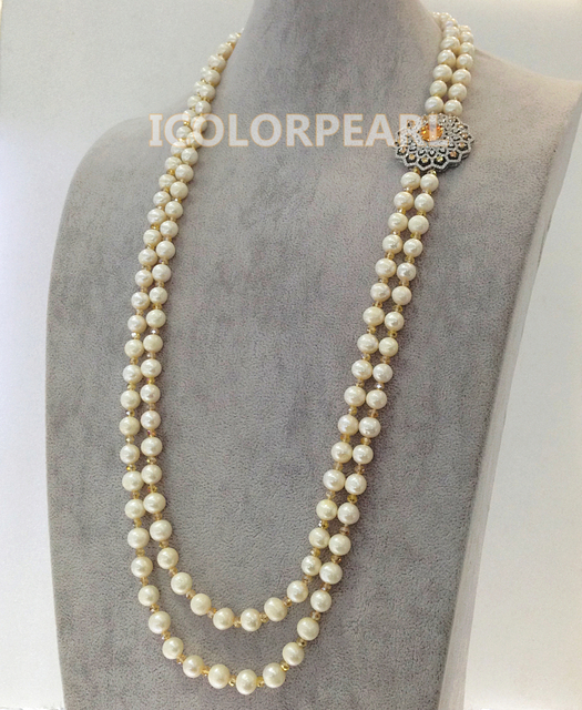 Two-Strand 85-90cm White Nearround Natural Freshwater Pearl And Champagne Crystal Jewelry Sweater Necklace.Best Gift!