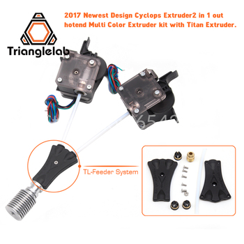 Trianglelab 3Dprinter V6 Cyclops dual head kit 2WAY in 1WAY out 2 in 1 out TL-Feederbowden prometheus System with Titan Extruder 3d printer parts cyclops 2 in 1 out 2 colors hotend 0 4 1 75mm 12v 24v fan bowden with titan bulldog extruder multi color nozzle